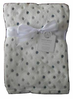 Baby Boys Girls Unisex Cute Gorgeous White and Grey Spotted Blanket Infants Wrap