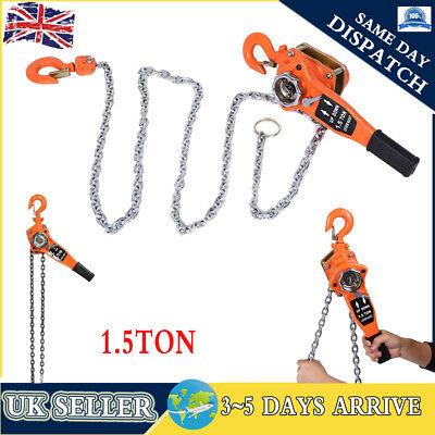 3 Metre Lever Hoist-1500KG Chain Manual Hand Ratchet Winch Lifting Pull 1.5Ton