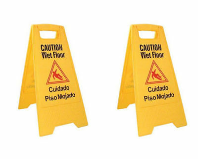 Caution Sign 2 Pack ABCO Products 2-Sided Wet Floor  English / Spanish,Yellow...