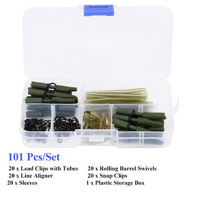 Carp Fishing Tackle Box Safety Lead Clips Tail Tubes Sleeves Swivel Line Aligner