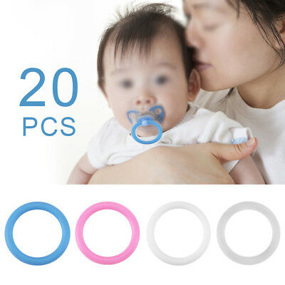 0Pcs Lots O-Rings Silicone Baby Dummy Pacifier Chain Clips Adapter Holder 3cm