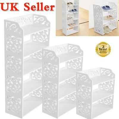 3/4/5 Tiers White Chic Hollow Out Shoe Rack Stand Storage Organiser Shelf 60cm