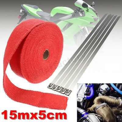 15M Heat Header Wrap Exhaust Downpipe High Temp Insulating Manifold Rap Tape Tie