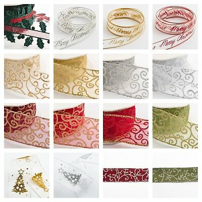 Christmas Organza Ribbon Sparkly Tying GIFT WRAP various colours and patterns