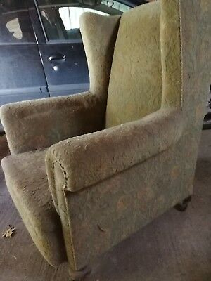 Beautiful Solid Wooden Framed Edwardian Wing Chair, needs a loving new home