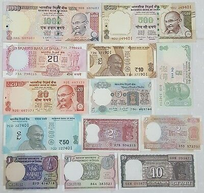 """set Of 13"" All Different Indian Bank Note In Unc...rare............."