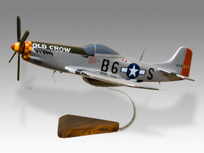 North American Mustang P-51 Old Crow Bud Anderson Solid Wood Airplane Desk Model