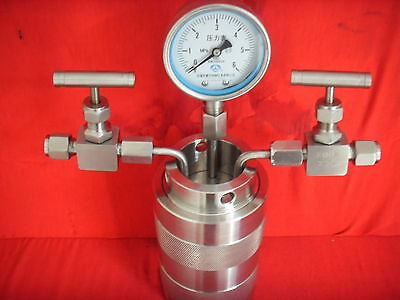 200ml Hydrothermal synthesis Autoclave Reactor vessel + inlet outlet gauge 6Mpa
