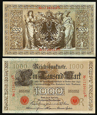 Germany 1000 Mark 1910 Aunc / Unc P-44B Red Seal
