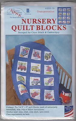 "1 Jack Dempsey ""Transportation"" Stamped Embroidery/Cross stitch Quilt Blocks"