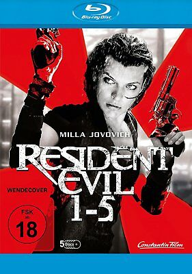 Resident Evil 1+2+3+4+5 Movie Collection (Milla Jovovich) # 5-BLU-RAY-BOX-NEU
