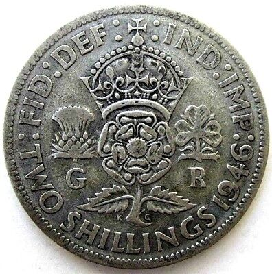 Great Britain Uk Coins, Two Shillings 1946, George Vi, Silver 0.500
