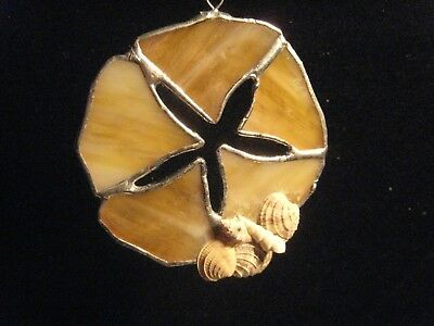 Beautiful Opalescent Stained Glass Sand Dollar Sun catcher  with Suction Cup!