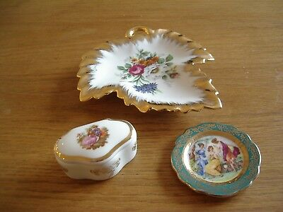 Limoges Porcelain Leaf Shaped Pin Dish, Very Small Plate And Small Trinket Box