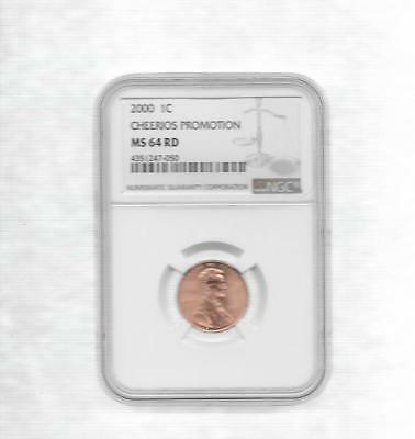 2000-P Cheerios Promo Lincoln Penny Ngc Ms-64 Red