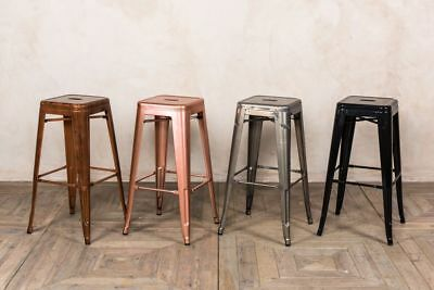 Backless Bright Metal Tolix Stools Available In Two Heights And Four Colours