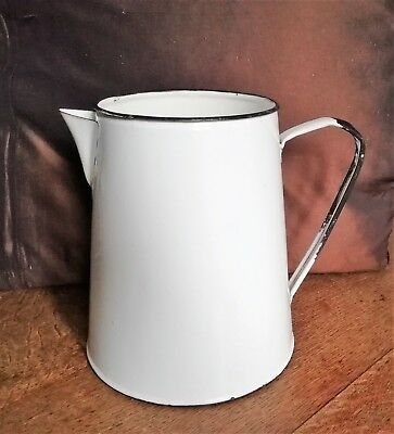 4pt Vintage Original white jug blue trim enamel kitchen jug- bargeware