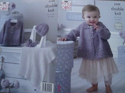"""King Cole 5340 Baby's Jacket, Blanket, Hat Slippers Knitting Pattern Size 14-20"""""""