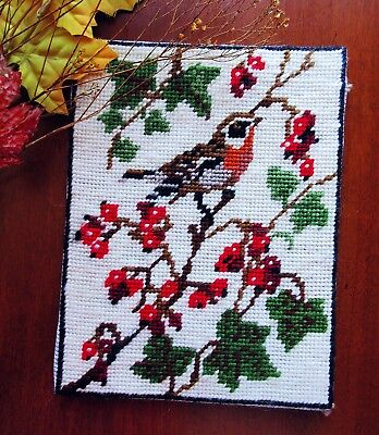 """Vintage Scottish Needlepoint Completed Sweet Bird and Berries to Frame 8"""" x 6"""""""