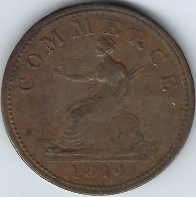 GREAT BRITAIN Channel Islands Pure Copper Druid 1814 Penny Withers 1635 Inv 3821