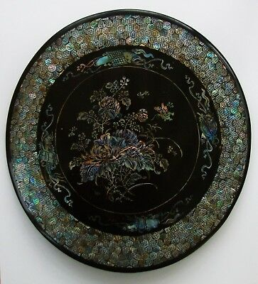 Rare Qing Period Chinese Mother Of Pearl Panel - Floral / Dragon / Scrolls