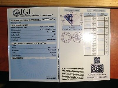 DIAMANT Certifié IGL - Brillant - VS1 - 0,31 Carat -