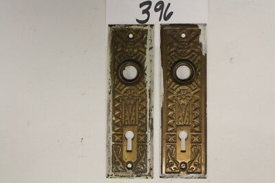 #396 – Lot of Matched Pair Door Knob Plates / Escutcheons, Eastlake, 19th C.