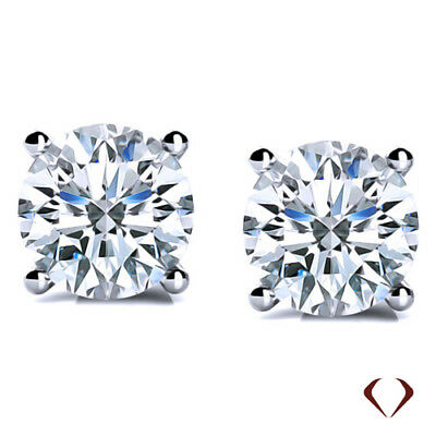 2.02CT F SI1 Round Cut Diamond Stud Earrings 14K White Gold