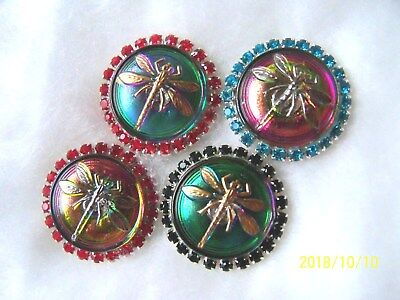 REDUCED CZECH GLASS BUTTONS (4 pcs) 23mm  DRAGONFLY WITH RHINESTONES   01