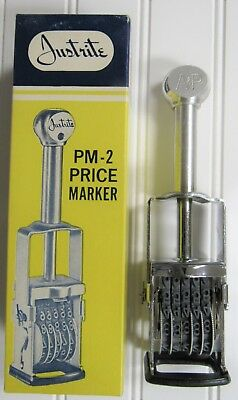 L@@K Vintage Justrite A & P Supermarket Self Inking Price Marker ~UNUSED IN BOX~