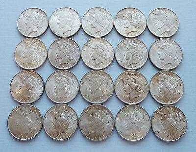 20 Coin Roll: 1922, 1923, 1925-P Us Peace Silver  Dollars ~ Almost Uncirc Plus