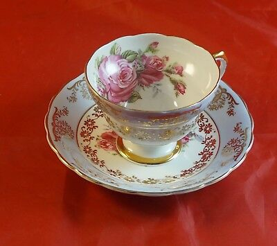 QUEENS Fine Bone China Cup and Saucer Big Red Roses in Bowl