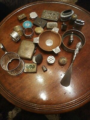 Job Lot Of Antiques Vintage Collectables Silver Silver Plate 25 pieces