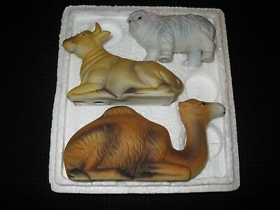 Homco 3 pc nativity animals, #5552, sheep, ox (cow), camel, good condition 7 pic