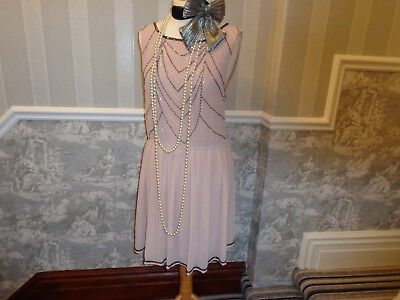 Nude Lipsy Beaded 1920S 1930S Flapper Gatsby Charleston Dress Size 12 Christmas