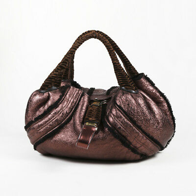 94a1865c6187  3318 FENDI SQUIRREL Velvet   Leather Spy Bag Tote Handbag Purse ...