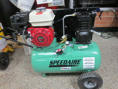 20 Gallon Portable Air Compressor 5.5 HP by SPEEDAIRE Gasoline Powered 4B241