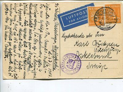 Finland censor air mail picture post card to Sweden 28.6.1943