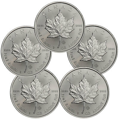 Daily Deal Lot of 5 2019 Canada 1 oz. Silver Maple Leaf $5 Coins GEM BU SKU55536