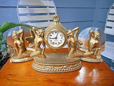 Art Deco Female Nude Mantle Clock Set