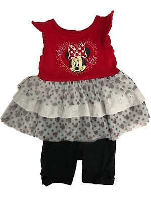 Disney Infant Girls Minnie Mouse Baby Outfit Tutu Skirt & Black Bow Leggings 24M
