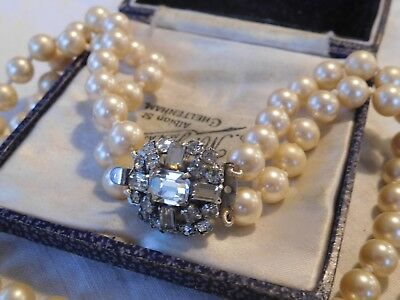 Beautiful Vintage 1950s Double Strand Pearl Necklace crystal clasp