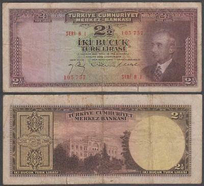1930 (1947) Central Bank of Turkey 2 1/2 Lira Pck # 140