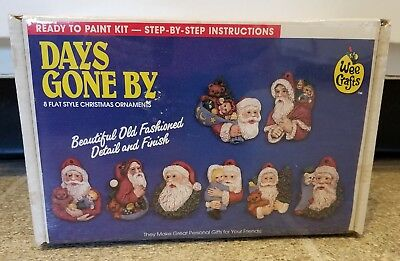 Vtg Wee Crafts Days Gone By Santa Christmas Ornaments Ready to Paint Kit #21022