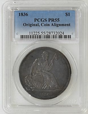 1836 Original PCGS PR55 GOBRECHT Silver Dollar Original Coin Alignment - I-14728