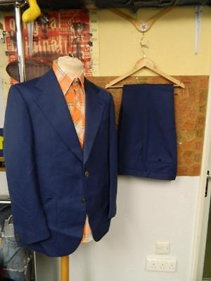 Vintage 1970's Trevira Full Dark Blue Suit Jacket and Trousers