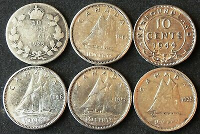 Lot of 6x Canada & Newfoundland Silver 10 Cent Dimes - Various Dates