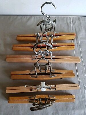 Six Vintage Wooden Clamp skirt trouser press Hangers