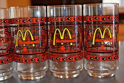 Lot of 6 Vintage McDonalds Canada Drink Coca Cola Glasses 1970s Stained Glass