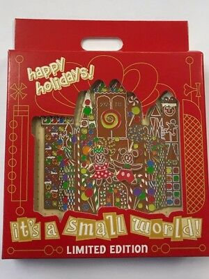 Disney Park IT'S A SMALL WORLD Happy Holidays 2018 Gingerbread Jumbo LE Pin